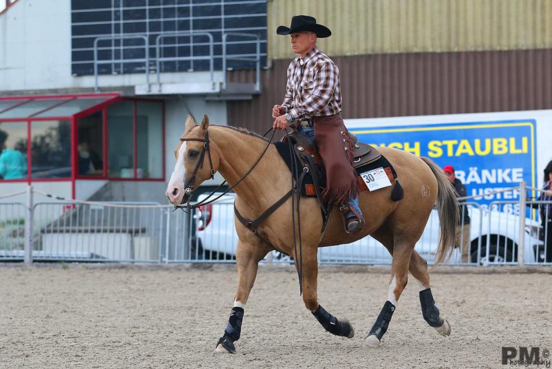 Rainer Schmid mit Megann Cee Bee in der Ranch Horse Pleasure an der SM Western 2014